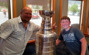 July 2016 - Neil and son with the Cup